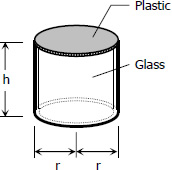 Cylindrical glass jar with plastic top