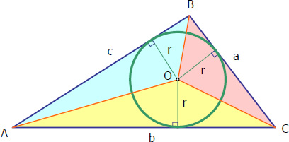 Figure for derivation of radius of incircle