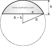 Figure for the derivation of formula of spherical segment of one base from segment of two bases